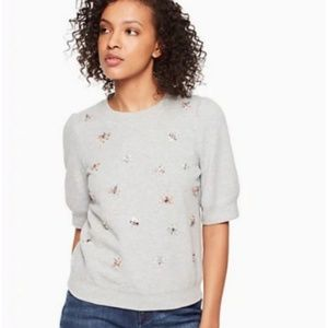kate spade bee embellished pullover grey size m